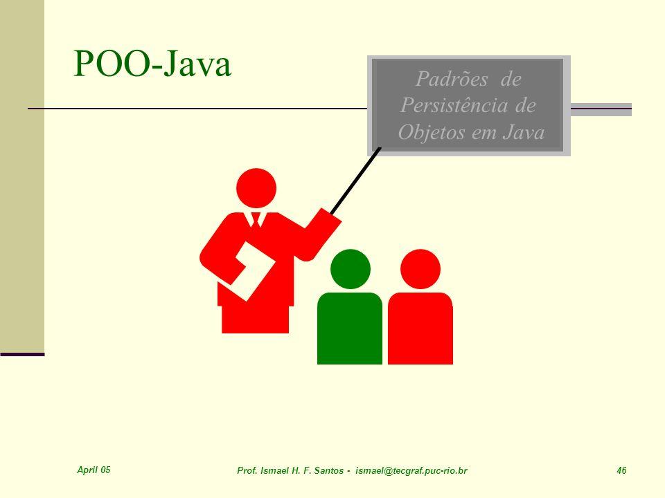 April 05 Prof. Ismael H. F. Santos - ismael@tecgraf.puc-rio.br 46 Padrões de Persistência de Objetos em Java POO-Java