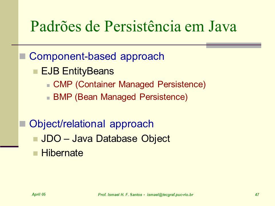April 05 Prof. Ismael H. F. Santos - ismael@tecgraf.puc-rio.br 47 Padrões de Persistência em Java Component-based approach EJB EntityBeans CMP (Contai