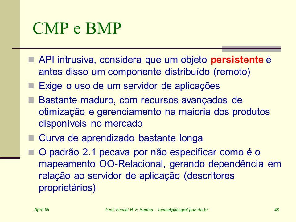 April 05 Prof. Ismael H. F. Santos - ismael@tecgraf.puc-rio.br 48 CMP e BMP API intrusiva, considera que um objeto persistente é antes disso um compon