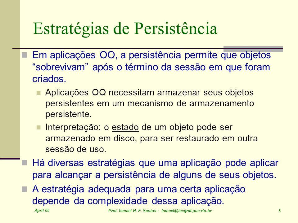 April 05 Prof. Ismael H. F. Santos - ismael@tecgraf.puc-rio.br 5 Estratégias de Persistência Em aplicações OO, a persistência permite que objetos sobr