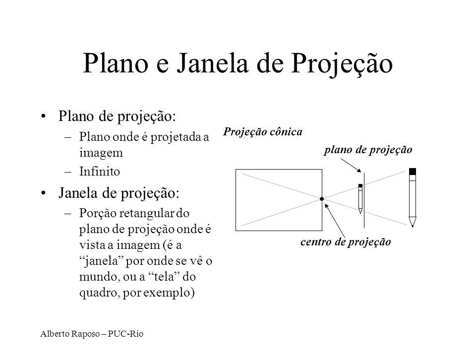 Alberto Raposo – PUC-Rio Geometria da projeção cônica plano de projeção centro de projeção Projeção cônica caixa filme objeto pinhole raios de luz ima