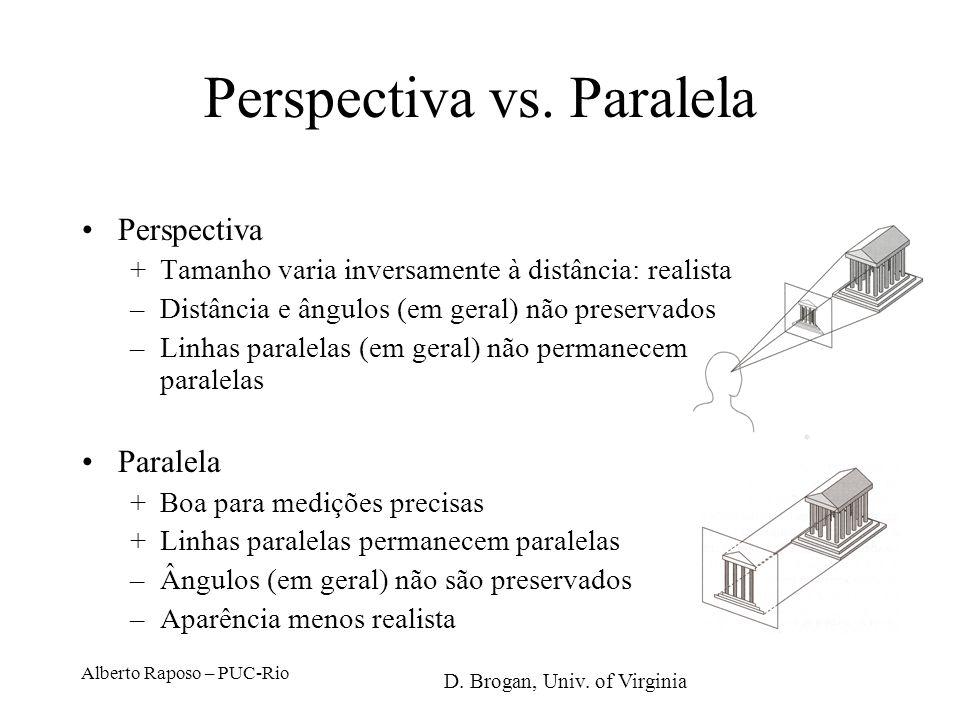 Projeções Planas Paralelas A B ApAp BpBp preserva paralelismo possui escala conhecida pouco realista N