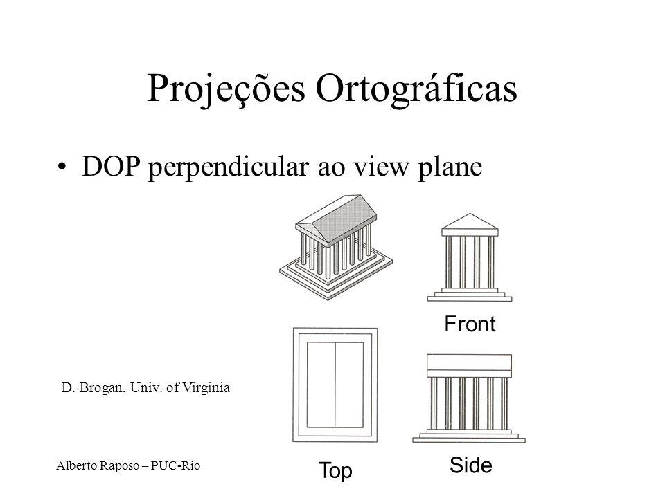 Alberto Raposo – PUC-Rio Projeção Paralela Centro de projeção no infinito –Direção de projeção (DOP) é a mesma para todos os pontos DOP View Plane D.