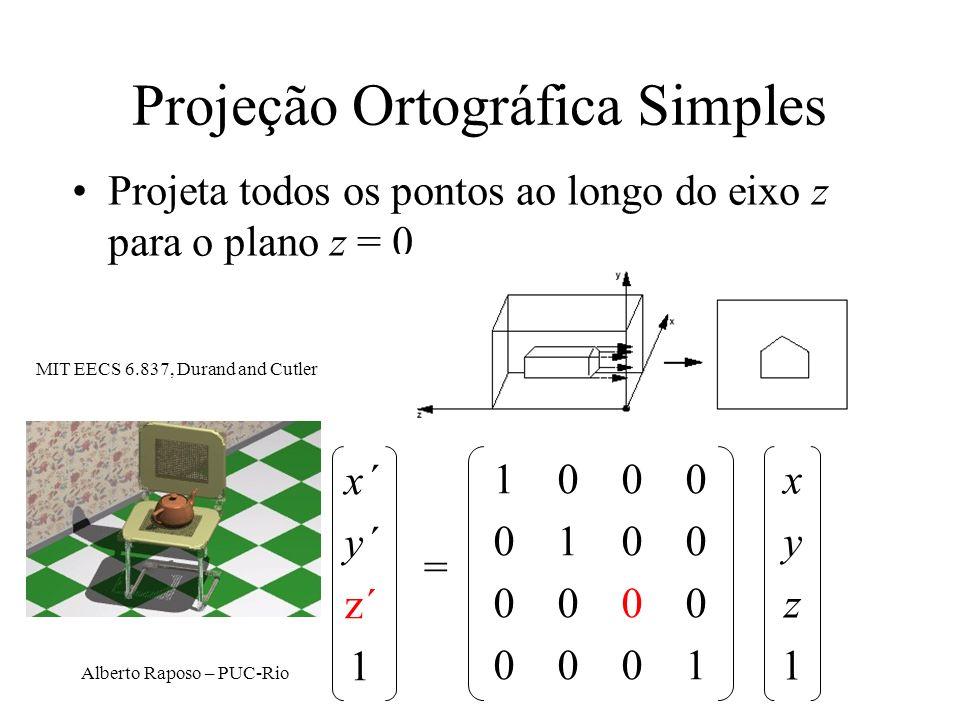 Alberto Raposo – PUC-Rio Projeções Ortográficas Top Side Front DOP perpendicular ao view plane D. Brogan, Univ. of Virginia