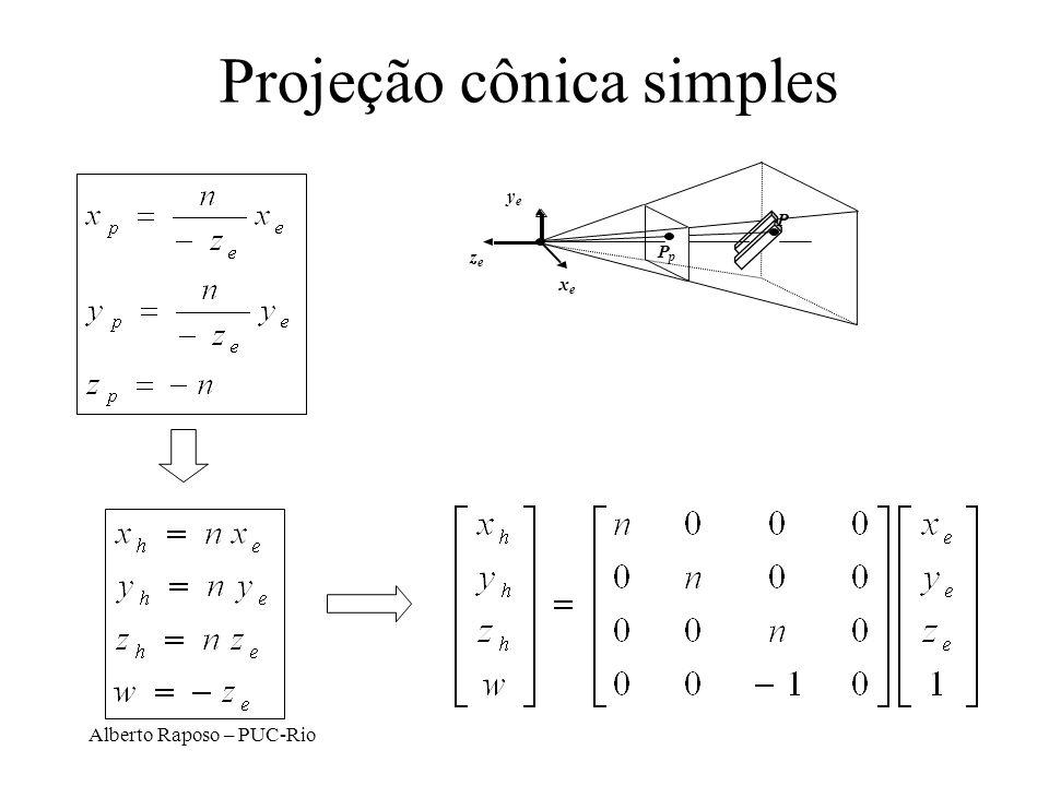 Alberto Raposo – PUC-Rio Projeção cônica simples x y z P PpPp z p = -n
