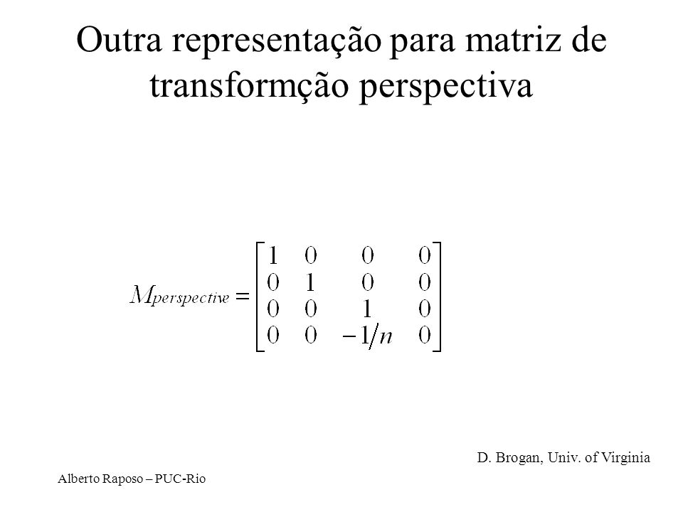 Alberto Raposo – PUC-Rio Projeção cônica simples xexe yeye zeze P PpPp