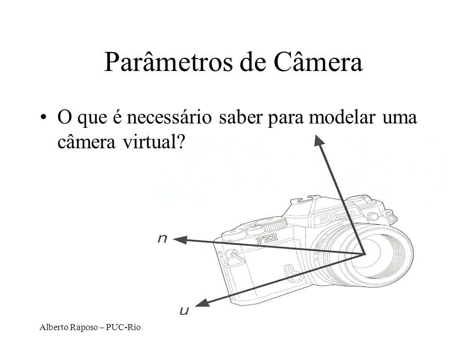 Alberto Raposo – PUC-Rio Modelos de Câmeras Virtuais Pinhole é a mais comum –Todos os raios de luz capturados chegam por retas até o ponto focal, sem