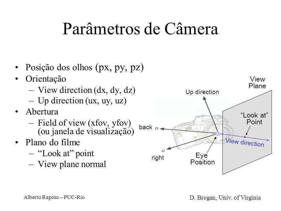 Alberto Raposo – PUC-Rio Sistemas de Coordenadas Do mundo (world coordinates): ponto arbitrário no espaço, a partir do qual o mundo é modelado De câme