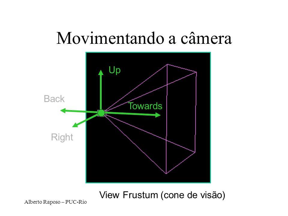 Alberto Raposo – PUC-Rio Parâmetros de Câmera Posição dos olhos (px, py, pz) Orientação –View direction (dx, dy, dz) –Up direction (ux, uy, uz) Abertu