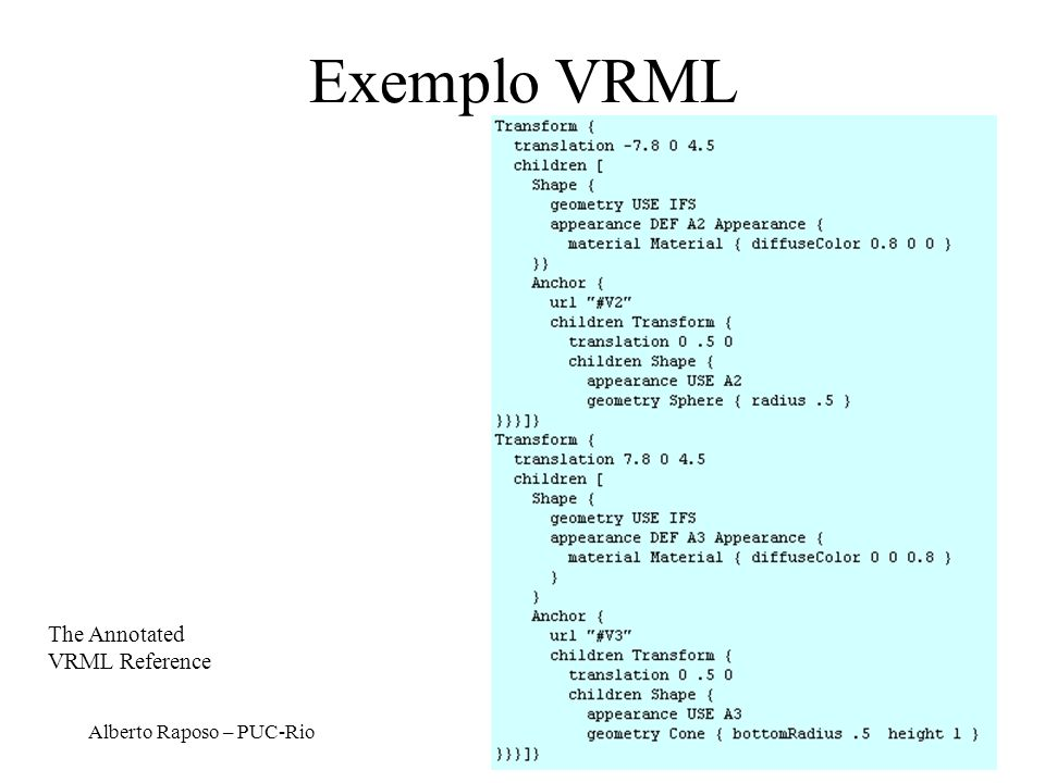 Alberto Raposo – PUC-Rio Exemplo VRML The Annotated VRML Reference
