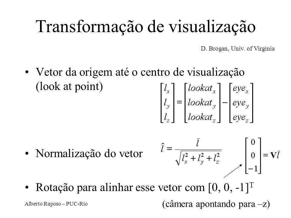 Alberto Raposo – PUC-Rio Espaço de coordenadas da câmera Especifica-se ponto onde a câmera está localizada (origem do espaço) eye point Especifica-se