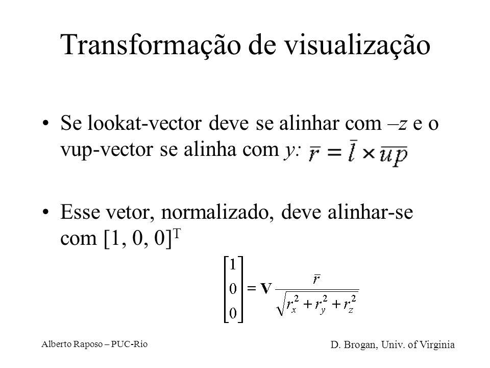 Alberto Raposo – PUC-Rio Transformação de visualização Vetor da origem até o centro de visualização (look at point) Normalização do vetor Rotação para