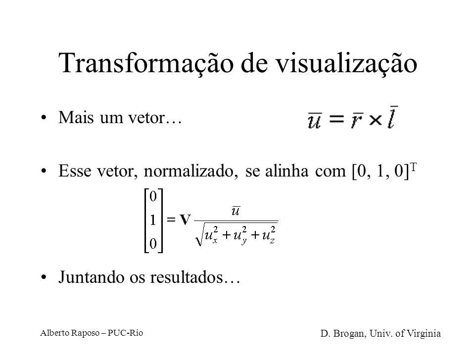 Alberto Raposo – PUC-Rio Transformação de visualização Se lookat-vector deve se alinhar com –z e o vup-vector se alinha com y: Esse vetor, normalizado