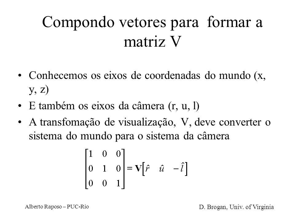 Alberto Raposo – PUC-Rio Transformação de visualização Mais um vetor… Esse vetor, normalizado, se alinha com [0, 1, 0] T Juntando os resultados… D. Br