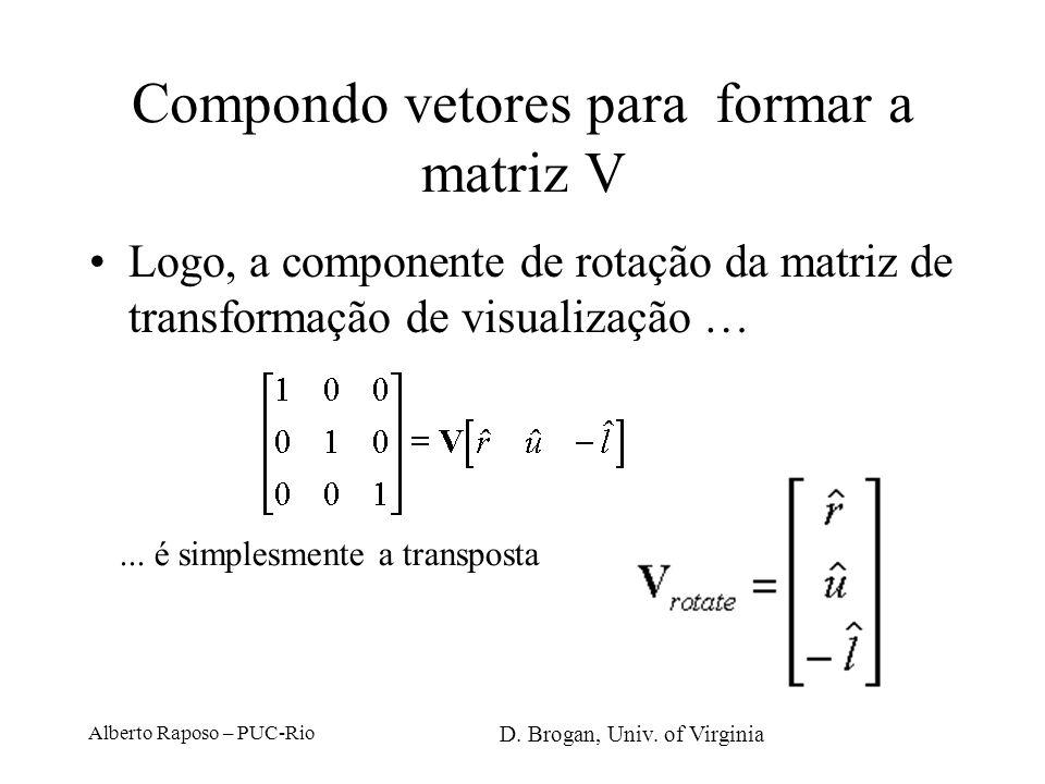 Alberto Raposo – PUC-Rio Compondo vetores para formar a matriz V Cada eixo da câmera é de módulo unitário Cada eixo é perpendicular aos demais A matri
