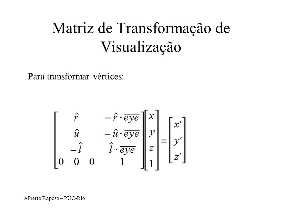 Alberto Raposo – PUC-Rio Compondo vetores para formar a matriz V Componente de translação D. Brogan, Univ. of Virginia
