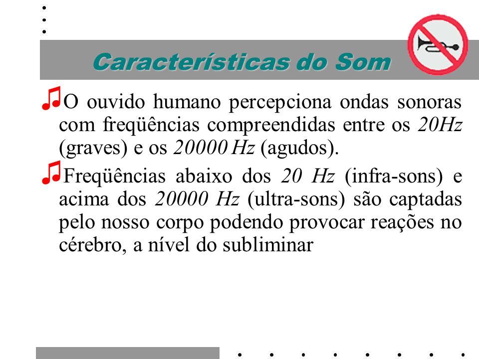 Características do Som Sons Graves: Os sons graves são poderosos, sendo que abaixo de 60Hz são praticamente mais sentidos que propriamente ouvidos.