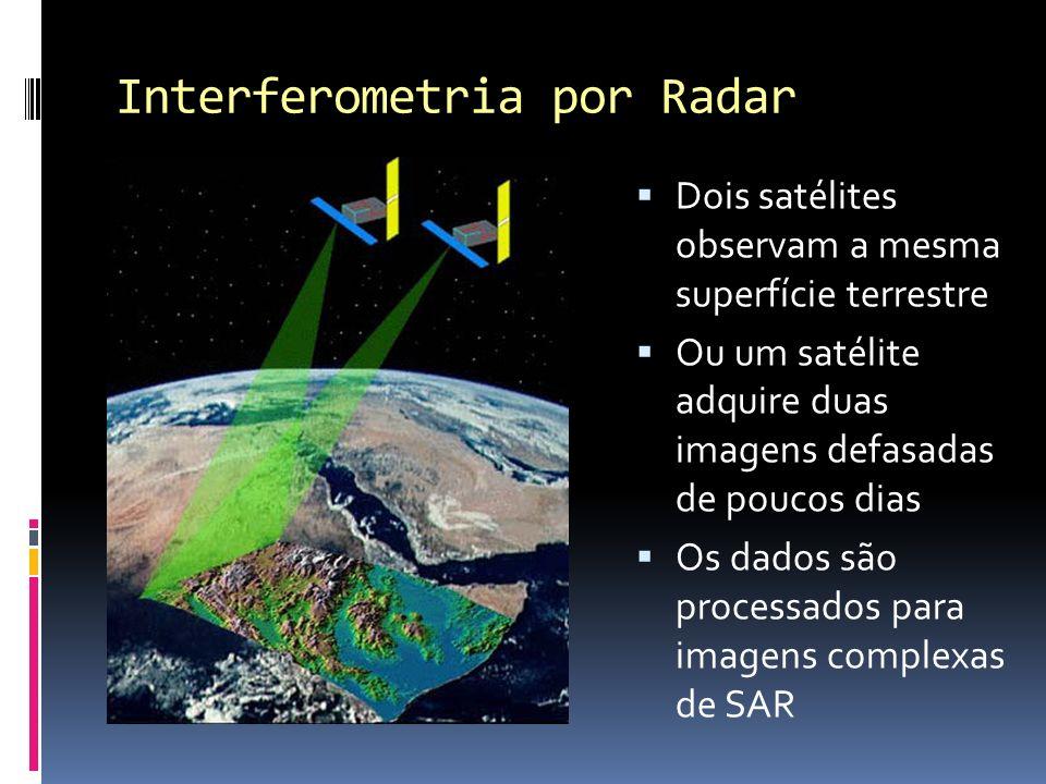 Interferometria por Radar Dois satélites observam a mesma superfície terrestre Ou um satélite adquire duas imagens defasadas de poucos dias Os dados s
