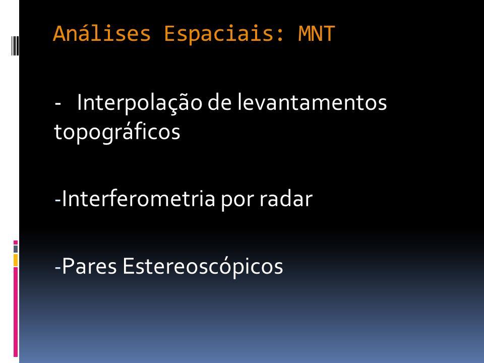 Interpolação Principais métodos de interpolação disponíveis no SIG: - Inverso do quadrado da distância - Krigagem - Curvatura mínima (Spline) - Métodos multiquadráticos - Triangulação de Delaunay