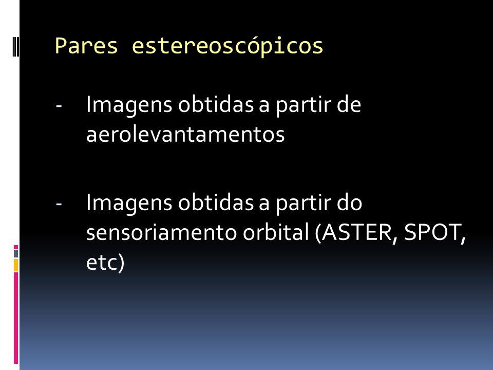 - Imagens obtidas a partir de aerolevantamentos - Imagens obtidas a partir do sensoriamento orbital (ASTER, SPOT, etc) Pares estereoscópicos