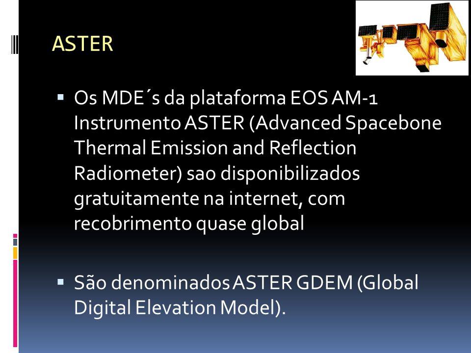Os MDE´s da plataforma EOS AM-1 Instrumento ASTER (Advanced Spacebone Thermal Emission and Reflection Radiometer) sao disponibilizados gratuitamente n
