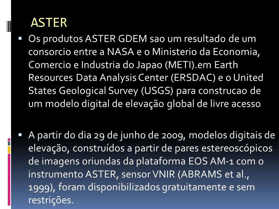 Os produtos ASTER GDEM sao um resultado de um consorcio entre a NASA e o Ministerio da Economia, Comercio e Industria do Japao (METI).em Earth Resourc