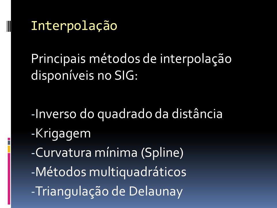Principais métodos de interpolação disponíveis no SIG: - Inverso do quadrado da distância - Krigagem - Curvatura mínima (Spline) - Métodos multiquadráticos - Triangulação de Delaunay Interpolação