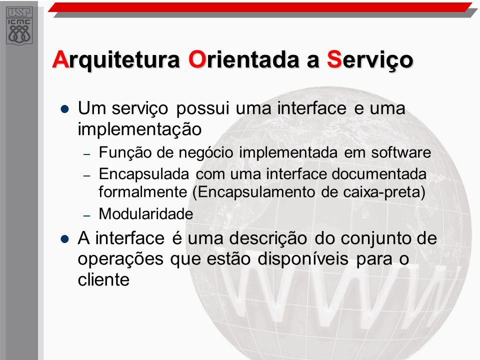 Arquitetura Orientada a Serviço Um serviço possui uma interface e uma implementação – Função de negócio implementada em software – Encapsulada com uma