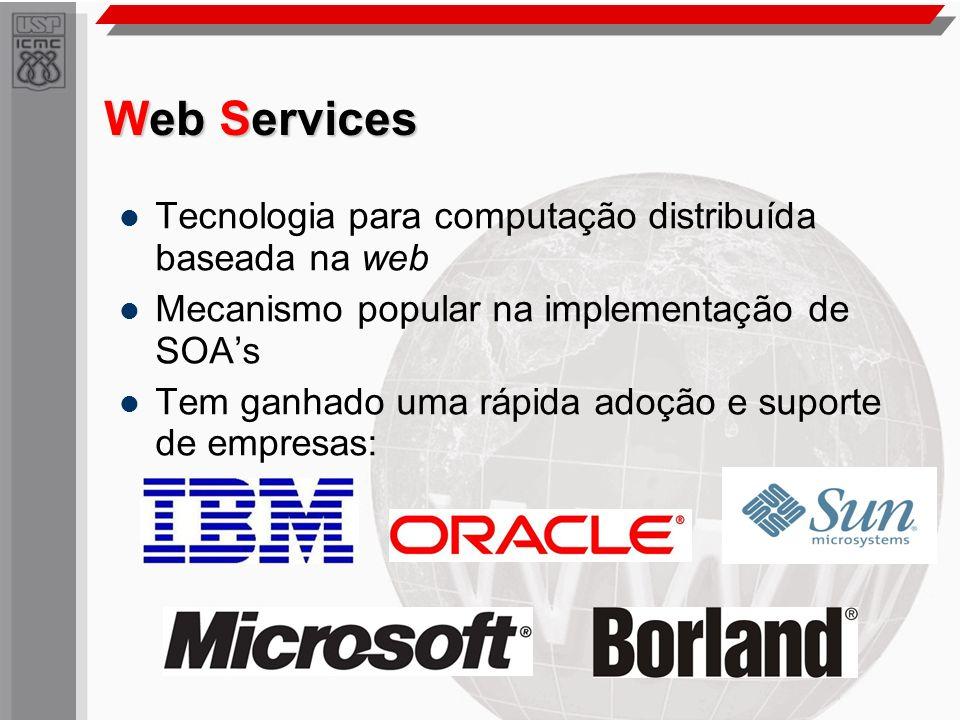 Web Services Tecnologia para computação distribuída baseada na web Mecanismo popular na implementação de SOAs Tem ganhado uma rápida adoção e suporte