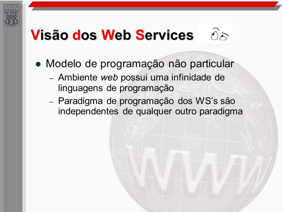 Visão dos Web Services Modelo de programação não particular – Ambiente web possui uma infinidade de linguagens de programação – Paradigma de programaç