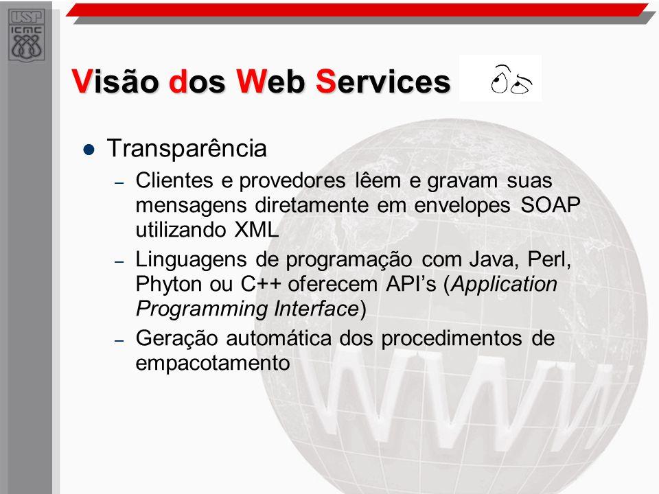 Visão dos Web Services Transparência – Clientes e provedores lêem e gravam suas mensagens diretamente em envelopes SOAP utilizando XML – Linguagens de