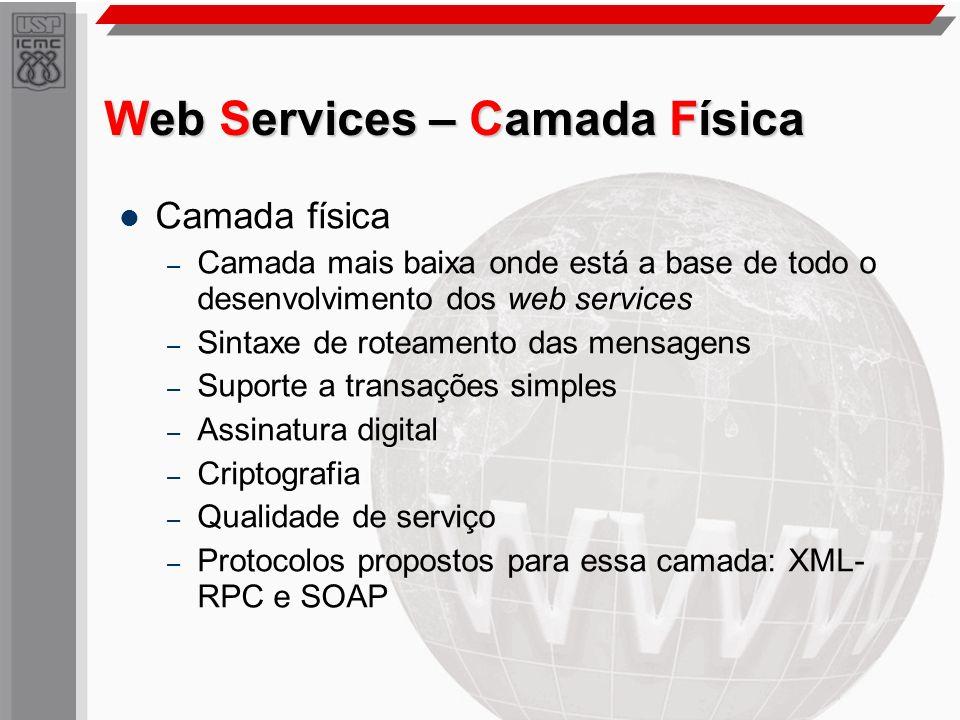 Web Services – Camada Física Camada física – Camada mais baixa onde está a base de todo o desenvolvimento dos web services – Sintaxe de roteamento das
