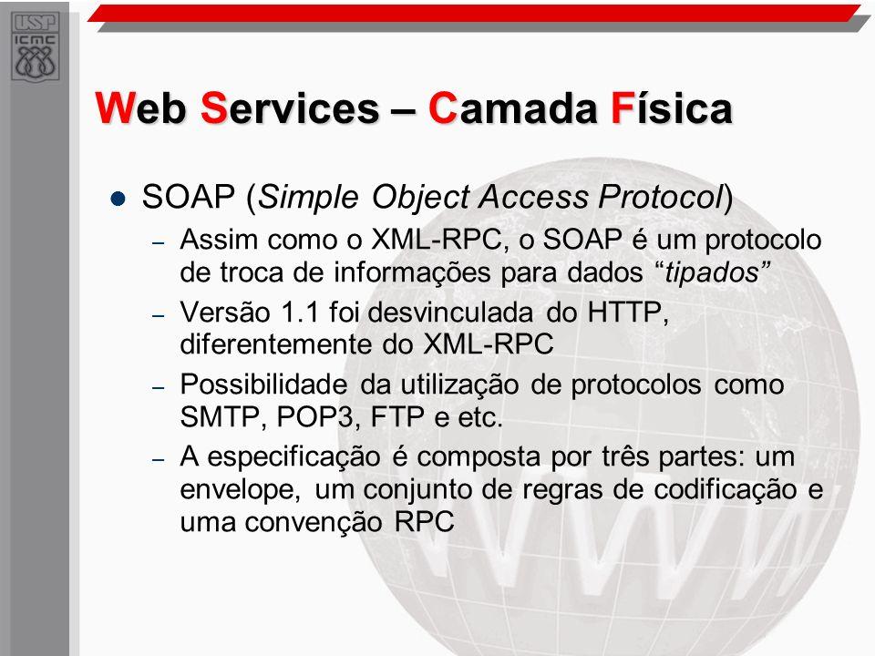 Web Services – Camada Física SOAP (Simple Object Access Protocol) – Assim como o XML-RPC, o SOAP é um protocolo de troca de informações para dados tip