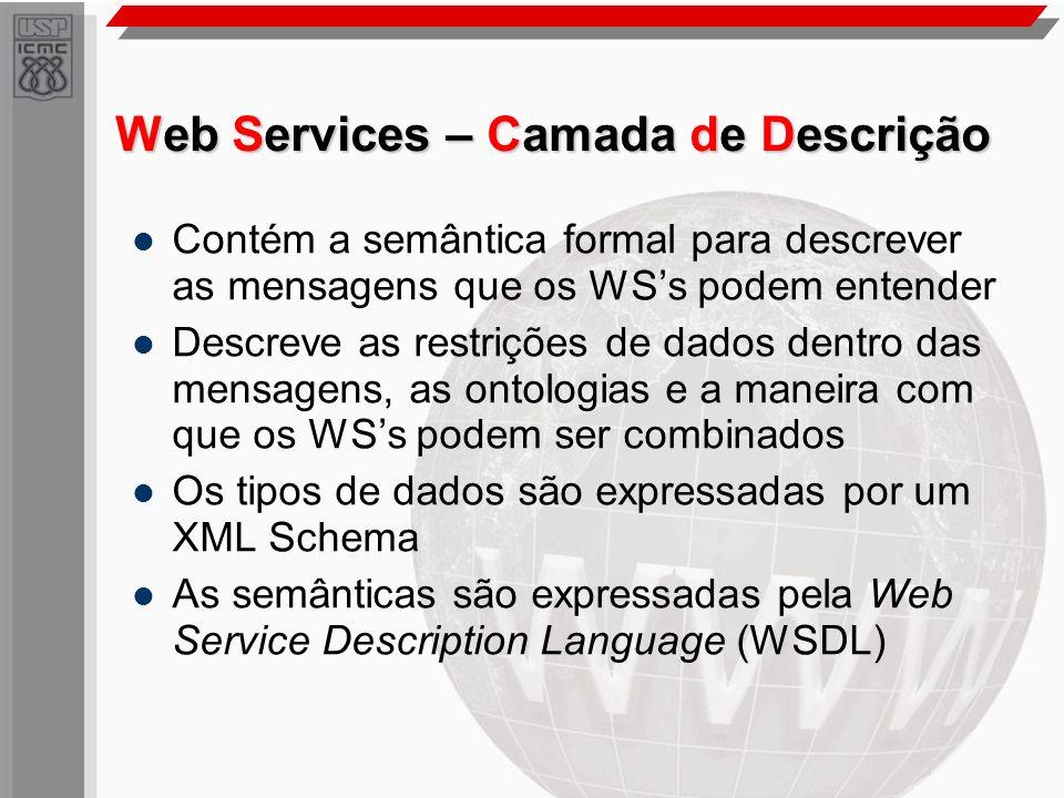 Web Services – Camada de Descrição Contém a semântica formal para descrever as mensagens que os WSs podem entender Descreve as restrições de dados den