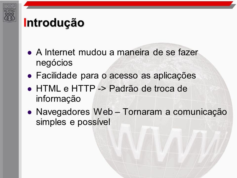 Introdução A Internet mudou a maneira de se fazer negócios Facilidade para o acesso as aplicações HTML e HTTP -> Padrão de troca de informação Navegad