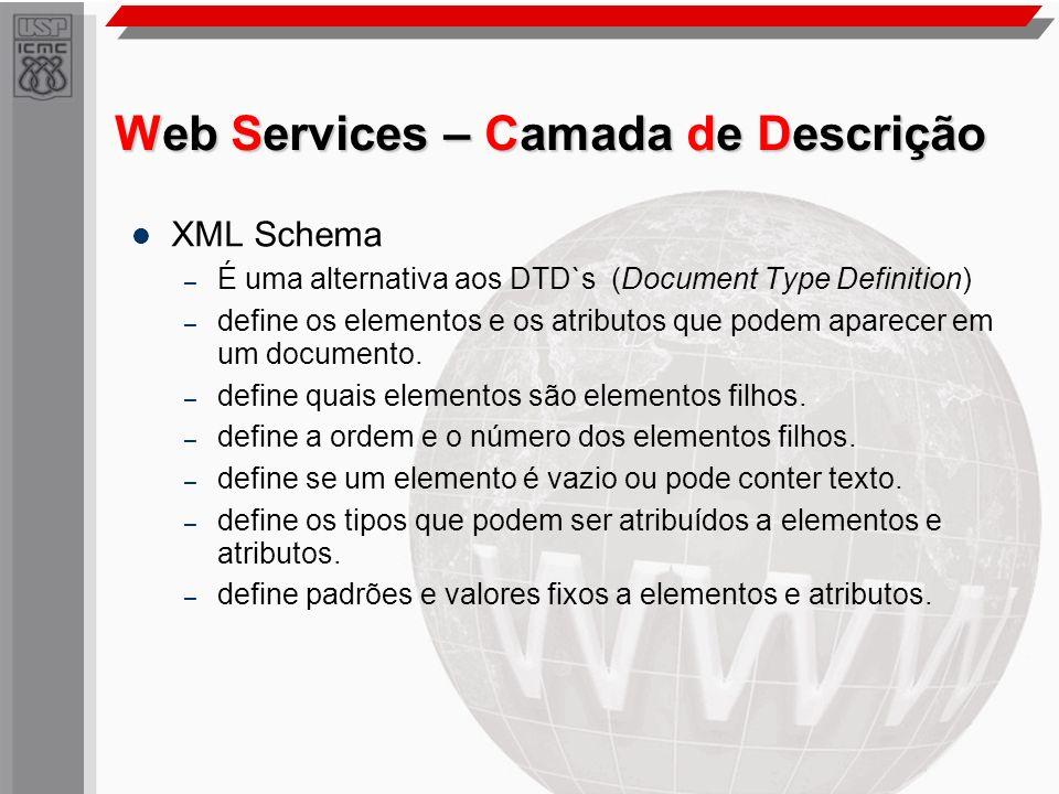 Web Services – Camada de Descrição XML Schema – É uma alternativa aos DTD`s (Document Type Definition) – define os elementos e os atributos que podem