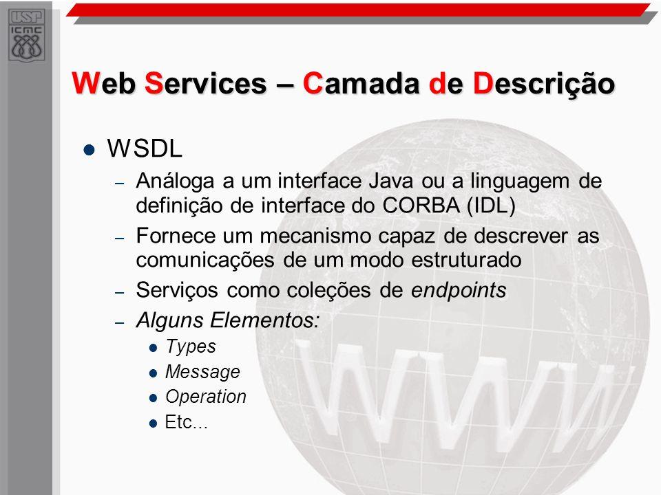 Web Services – Camada de Descrição WSDL – Análoga a um interface Java ou a linguagem de definição de interface do CORBA (IDL) – Fornece um mecanismo c