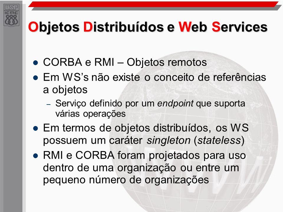 Objetos Distribuídos e Web Services CORBA e RMI – Objetos remotos Em WSs não existe o conceito de referências a objetos – Serviço definido por um endp