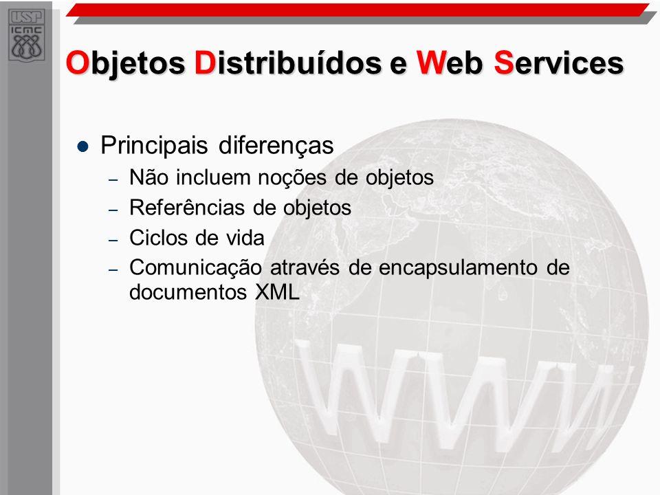 Objetos Distribuídos e Web Services Principais diferenças – Não incluem noções de objetos – Referências de objetos – Ciclos de vida – Comunicação atra