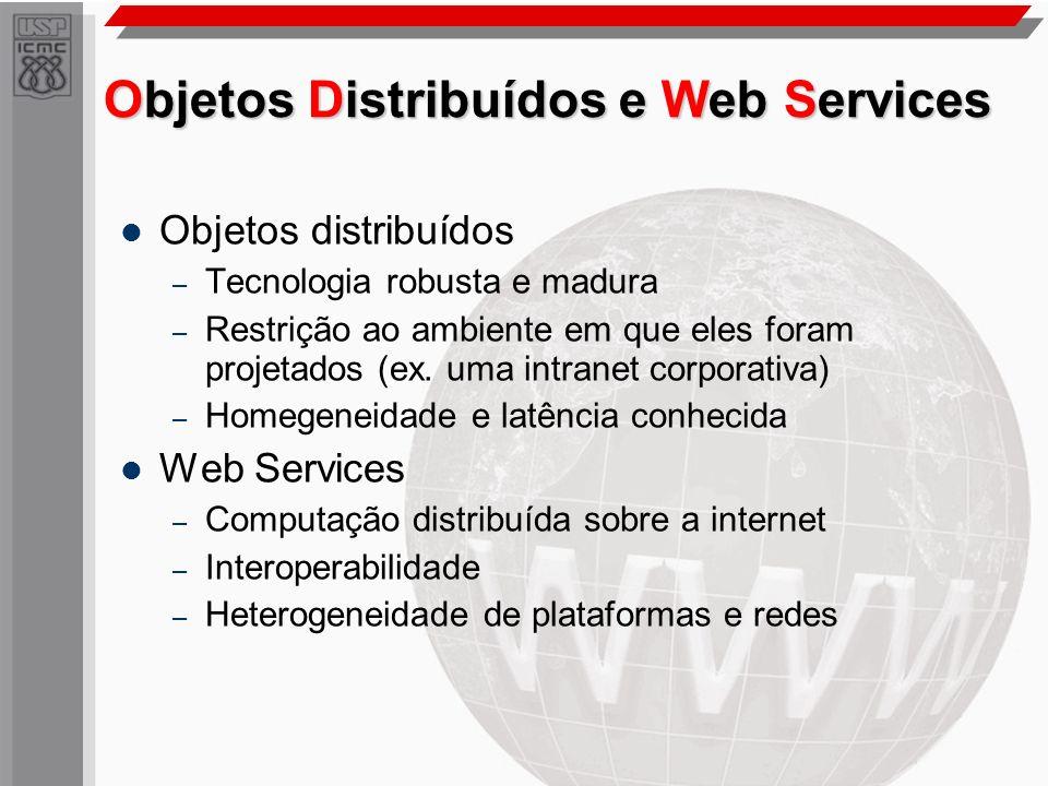 Objetos Distribuídos e Web Services Objetos distribuídos – Tecnologia robusta e madura – Restrição ao ambiente em que eles foram projetados (ex. uma i