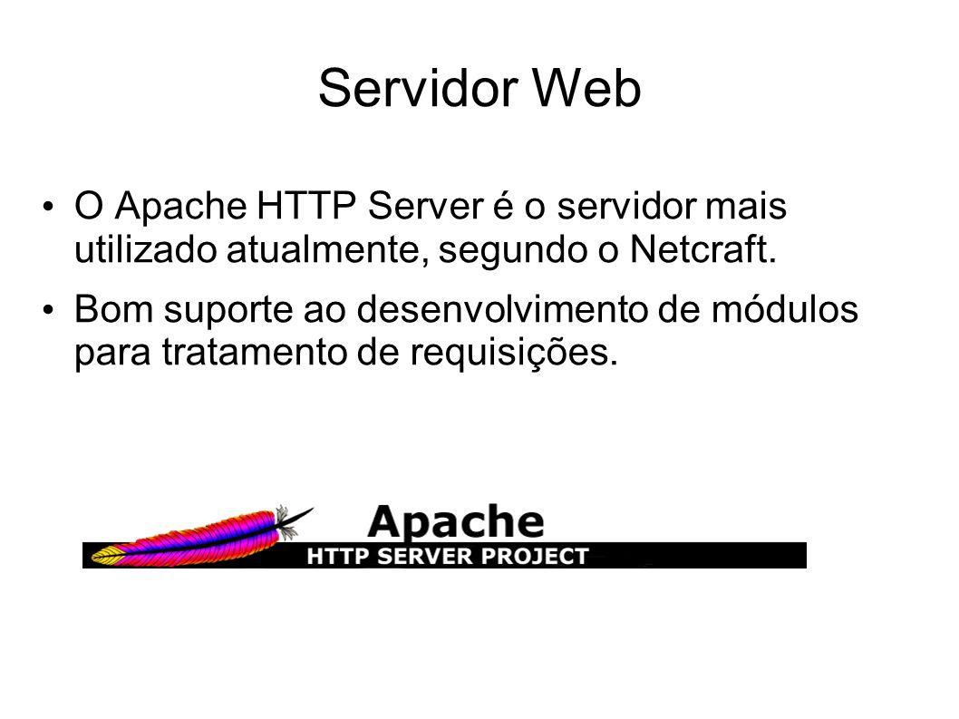 Servidor Web O Apache HTTP Server é o servidor mais utilizado atualmente, segundo o Netcraft. Bom suporte ao desenvolvimento de módulos para tratament