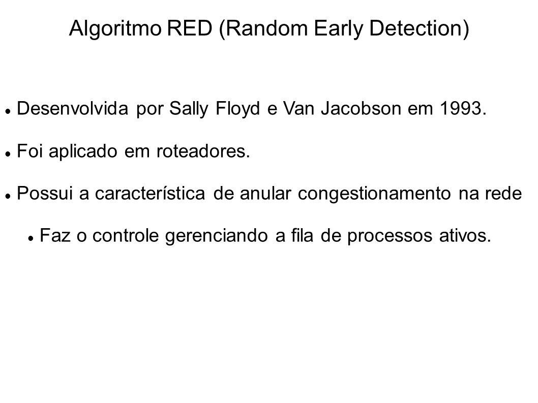 Algoritmo RED (Random Early Detection) Desenvolvida por Sally Floyd e Van Jacobson em 1993. Foi aplicado em roteadores. Possui a característica de anu