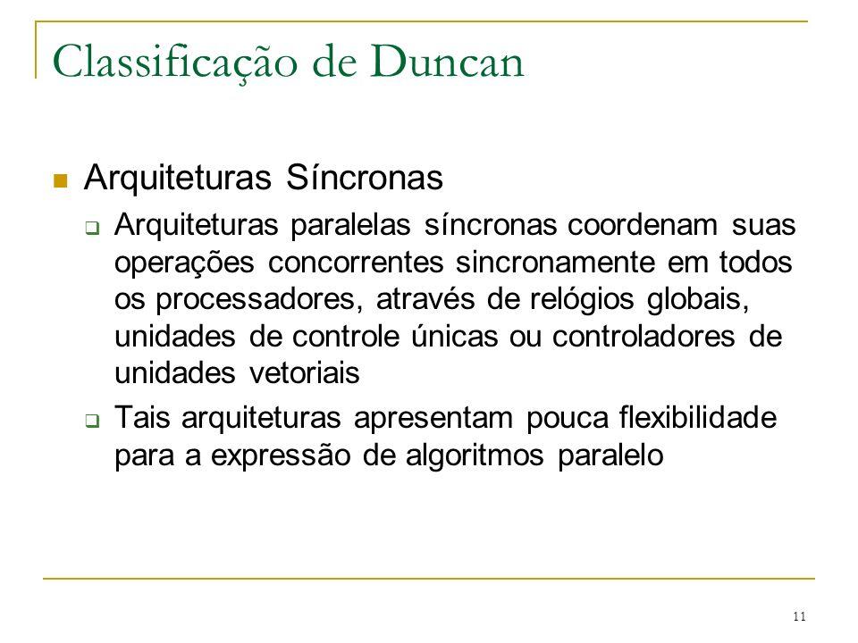 11 Classificação de Duncan Arquiteturas Síncronas Arquiteturas paralelas síncronas coordenam suas operações concorrentes sincronamente em todos os pro