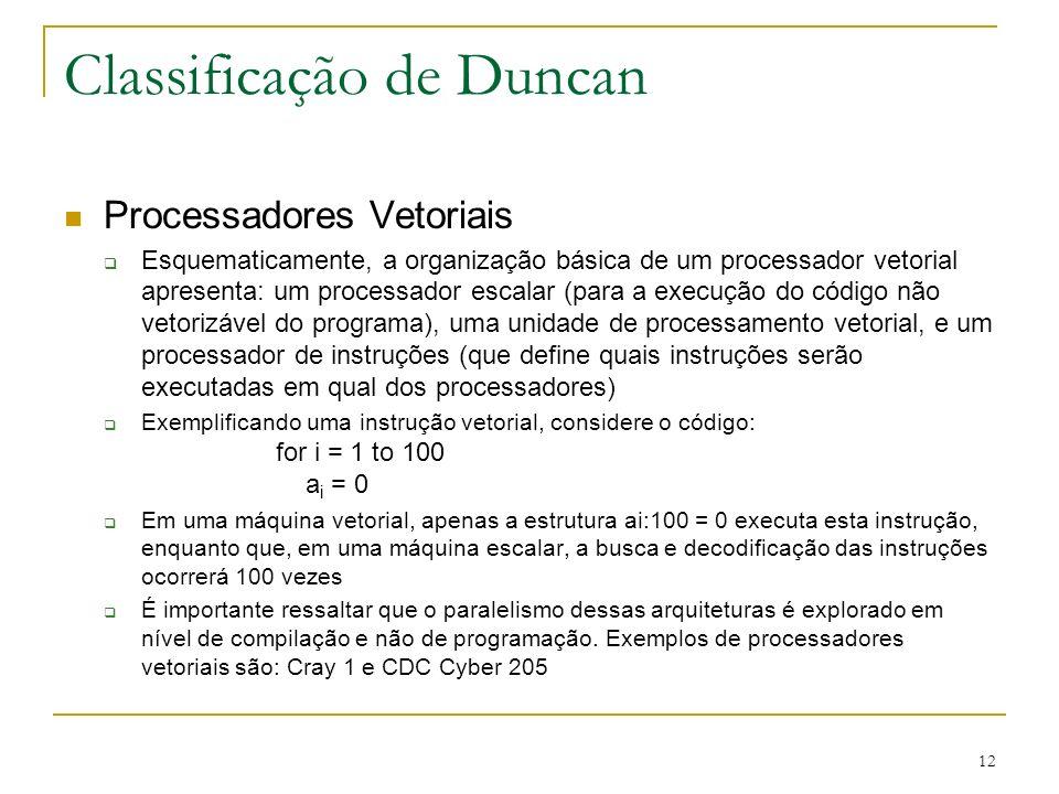 12 Classificação de Duncan Processadores Vetoriais Esquematicamente, a organização básica de um processador vetorial apresenta: um processador escalar