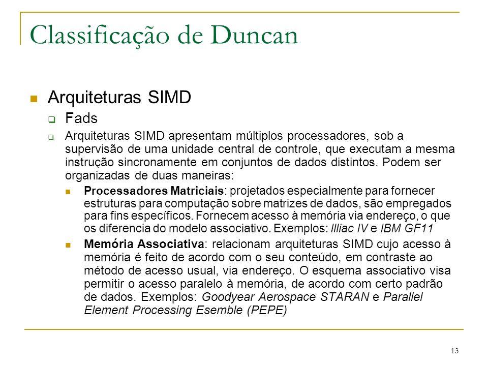 13 Classificação de Duncan Arquiteturas SIMD Fads Arquiteturas SIMD apresentam múltiplos processadores, sob a supervisão de uma unidade central de con