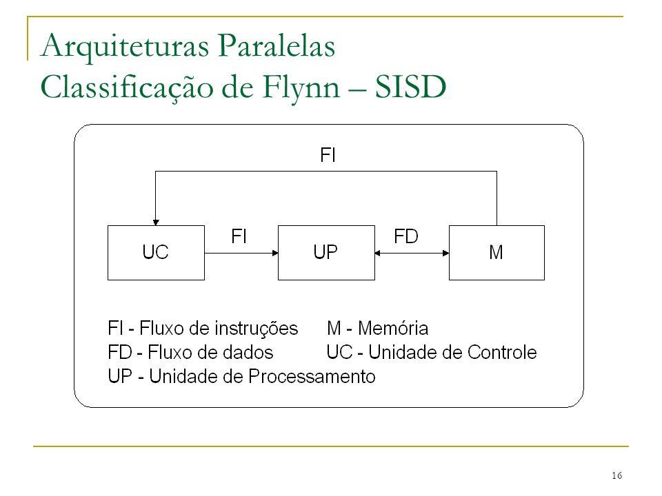 16 Arquiteturas Paralelas Classificação de Flynn – SISD