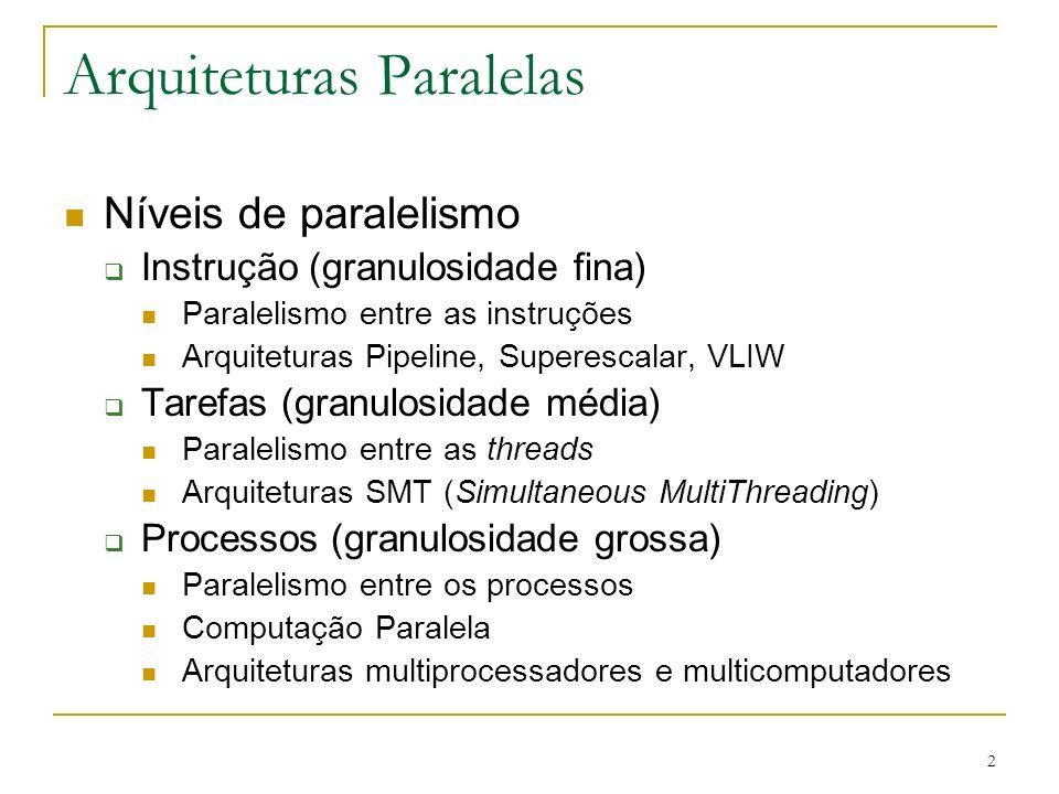 2 Arquiteturas Paralelas Níveis de paralelismo Instrução (granulosidade fina) Paralelismo entre as instruções Arquiteturas Pipeline, Superescalar, VLI