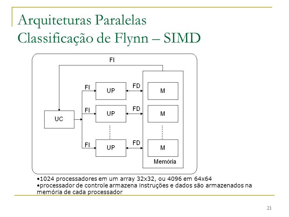 21 Arquiteturas Paralelas Classificação de Flynn – SIMD 1024 processadores em um array 32x32, ou 4096 em 64x64 processador de controle armazena instru