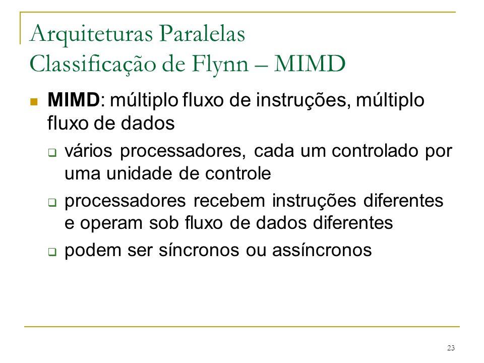 23 Arquiteturas Paralelas Classificação de Flynn – MIMD MIMD: múltiplo fluxo de instruções, múltiplo fluxo de dados vários processadores, cada um cont