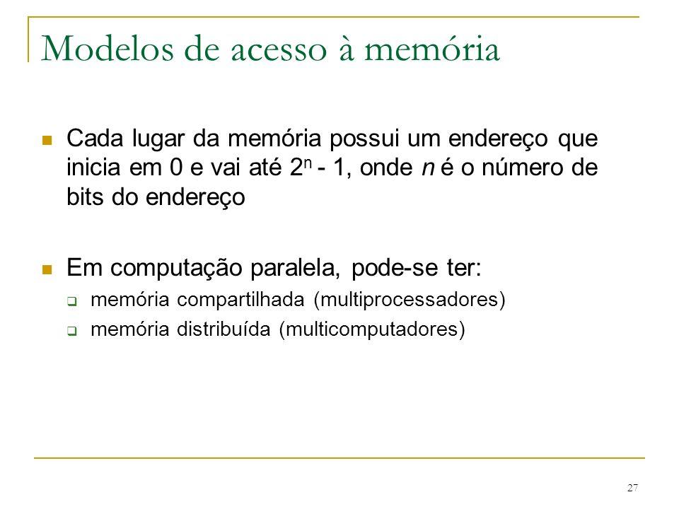 27 Modelos de acesso à memória Cada lugar da memória possui um endereço que inicia em 0 e vai até 2 n - 1, onde n é o número de bits do endereço Em co